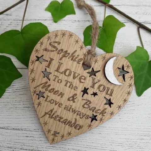 Personalised I Love You To The Moon & Back Wooden Heart, Hanging Heart Silver Moon